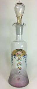 Glass Decanter Gilded Hand Painted Flowers Numbered Mont Joye Legras Style