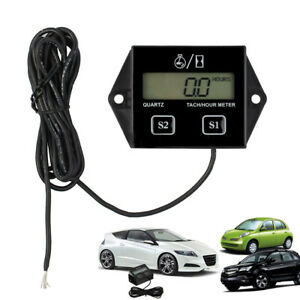 Black Motorcycle Lcd Race Digital Rpm Tach Hour Meter Tachometer Gauge Spark