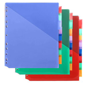 Plastic 8 tab Binders Dividers With Two Pockets Insertable Tab Dividers For Of