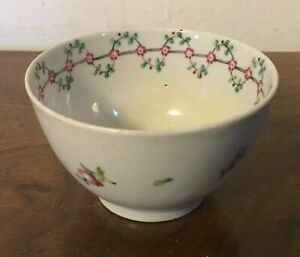 Antique English New Hall Porcelain Tea Cup Bowl 18th Century Sprig Flowers