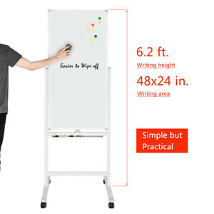 Mobile Whiteboard Double side Magnetic Dry Erase Board Stand 48x32 48x24 New