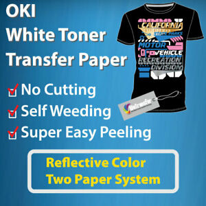 Oki White Toner Easy Peel Transfer Paper reflective Color