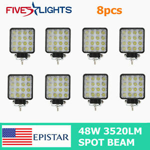 8x 48w Led Work Light Fog Lamp Truck Off road Tractor Spot Light Square Driving