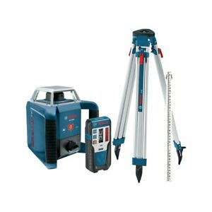 Bosch Grl400hck 360 degree Self leveling Rotary Laser Receiver tri pod rod Kit