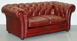 Rrp 2699 Tetrad England Reddish Brown Leather Chesterfield Sofa Part Of Suite