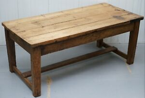 Antique 1870 Solid Pine Farmhouse Country 8 Person Dining Table Heavily Used