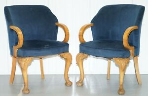 Pair Of 1930 S Art Deco Tub Armchairs Carved Georgian Legs Royal Blue Upholstery