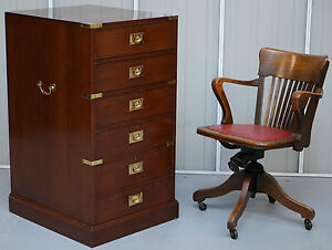 Rrp 4999 Kennedy Harrods London Campaign Three Large Drawer Filing Cabinet