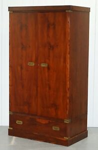 Rare 1940 S Harrods London Military Campaign Wardrobe Mahogany Brass Drawers