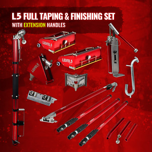 Drywall Taping Set W Automatic Taper Flat Boxes Pump Handles Level 5 Tools