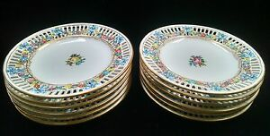 12 Antique Max Roesler Rmr Hand Painted Dresden 7 1 2 Reticulated Plates