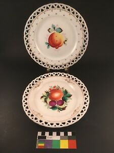 Two 2 Pierced Reticulated Porcelain Cabinet Plates Hand Painted Fruit