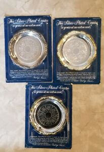 3 Silver Plated Readers Digest Coasters 1988 New