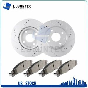 Front Brake Discs Rotors And Ceramic Pads For Ford Focus 08 11 Drilled