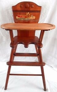 Antique Wwii Era Baby Child S High Chair Wood Painted Decal Nappanee Indiana