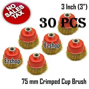 30 Pcs 75mm 3 Wire Wheel Fine Crimp Cup Brush For Angle Grinder