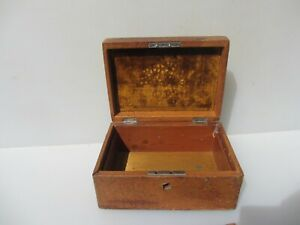 Vintage Wooden Box Antique Storage Old Wood Snake Leather Jewellery 8 W