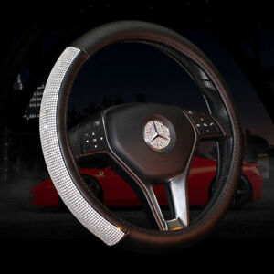 Crystal Bling Rhinestone Leather Car Steering Wheel Cover 38cm For Girls Ladies