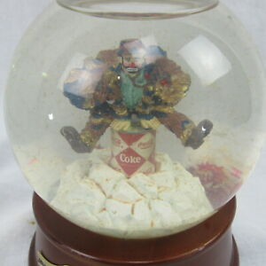 Coca Cola Emmett Kelly Musical Glitter Snow Globe FOR REPAIR or PARTS