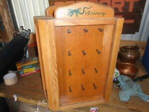 Vtg Counter Top Wood Cabinet Store Display Spins Oak