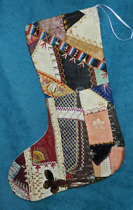 Awesome Antique Vintage Crazy Quilt Christmas Stocking Cutter Quilt Cq27
