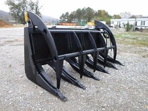 Skid Steer Tractor Loader Attachment 66 Root Rake Clam Grapple Ship 199