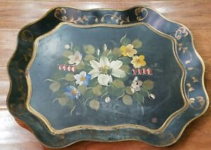 Black Tole Toleware Easter Lily Flower Tray Gold Scalloped