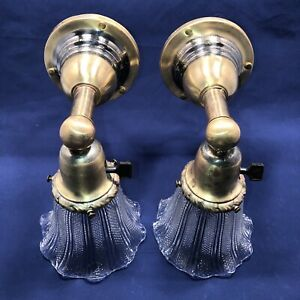 Wired Pair 1900 S Arts Crafts Brass Wall Sconces Vintage Shades Fixtures 19b