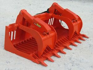 Kubota Skid Steer Attachment 84 Extreme Duty Root Grapple Bucket Ship 199