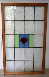 Antique Leaded English Stained Glass Huge Window Wood Frame England Old House 92