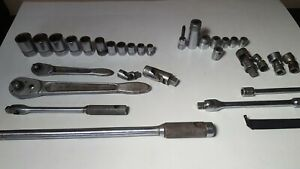 Vintage Lot Of 32 Snap On Williams Socket Wrenches Ratchets Tool Breaker Swivel