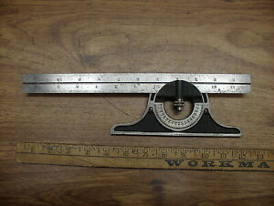 Vintage Starrett No 492 Protractor Head 12 Scale with No Owner s Markings