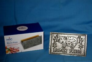 Nib New Hic Cast Iron Bacon Press steak Weight Grill Panini Burger Sausage Press