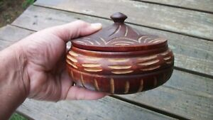 Vintage Folk Americana Art Wooden Hand Made Bowl With Matching Lid 6 Wide