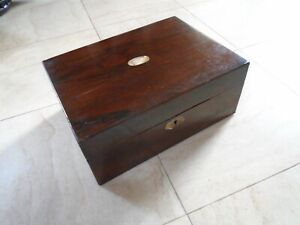 Vintage Rosewood Desk Top Stationery Writing Box Sewing Box Mother Of Pearl