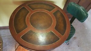 Antique Round Drum Side End Accent Leather Top Table Wood Furniture Vintage Usa
