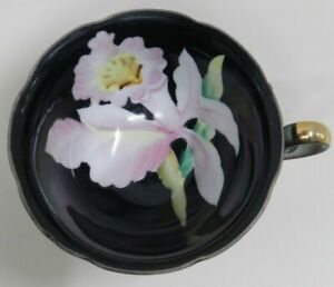 Vintage Black Tea Cup With Hand Painted Pink Flower Iris Gold Plated Japan