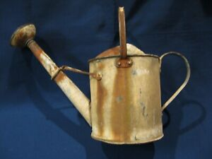 Vintage Galvanized Steel Metal Watering Sprinkling Can With Spout
