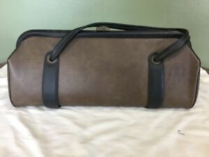 Vintage Brown Pebble Medical Doctor Bag Purse Black Trim Faux Leather Usa