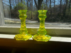 Antique Pair Of Early 6 Sided Yellow Vaseline Glass Candlesticks 6 Tall 1800s