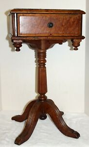 Antique Burl Wood Telephone Desk Stand Occasional Table Dovetailed Drawer
