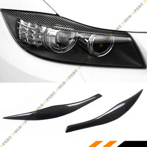 For 2006 11 Bmw E90 E91 328i 335i M3 Carbon Fiber Headlight Eyelid Eyebrow Cover