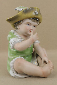 Antique German Bisque Porcelain Piano Baby Boy Doll Figure Figurine