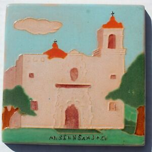 Original 1930 S San Jose Texas Mission Glazed Pottery Tile 6 Inch Blue Skies