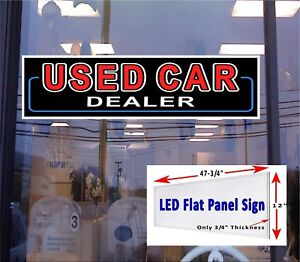 Used Car Dealer Led Illuminated Window Sign 48x12 Flat Panel Led