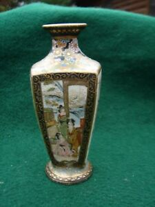 Antique Satsuma Miniature Vase Enamels Gilt Meiji Period Signed