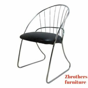 Vintage Mid Century Chrome Wire Dining Desk Lounge Chair