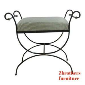 Vintage Wrought Scroll Iron Italian Regency Vanity Stool Bench Seat A