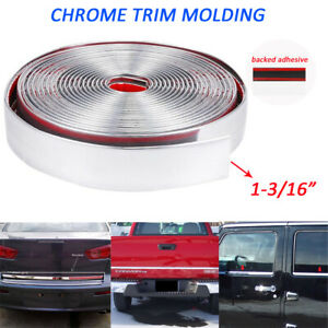 Molding Trim Chrome Silver 1 Inch Car Body Side Door Decorate Guard Strip 25feet