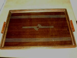 Vintage Art Deco Wood And Glass Serving Tray Classic Art Deco Design Bar Tray